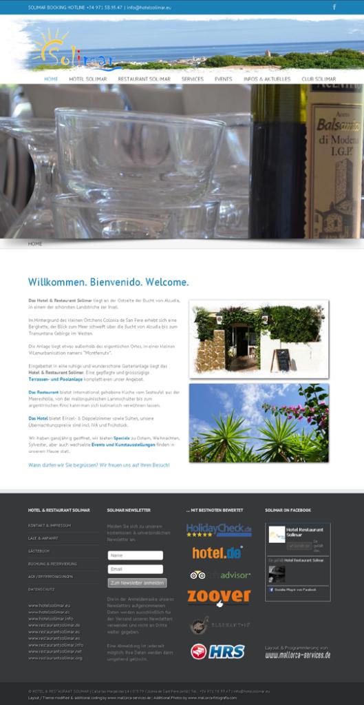 Kunde: HOTEL RESTAURANT SOLIMAR Erstellung / Gestaltung > Website http://www.hotelsolimar.eu