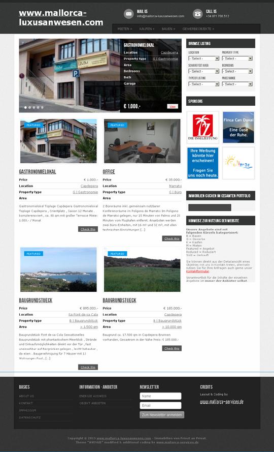 Kunde: mallorca-luxusanwesen.com Erstellung / Gestaltung > Website  http://www.mallorca-luxusanwesen.com